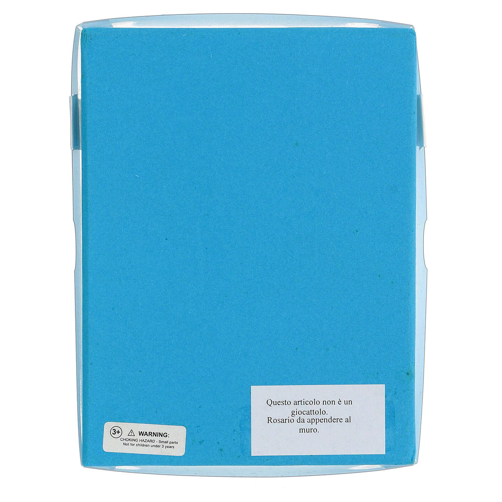 Rosario grani legno azzurri 15 mm con libretto in italiano 4
