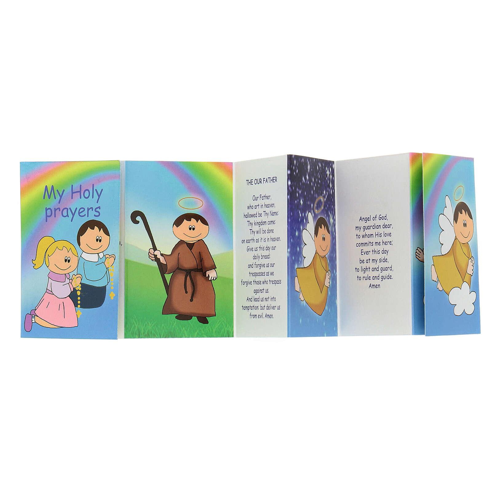 Rosario legno multicolor 15 mm croce Madonna con libretto in inglese 4