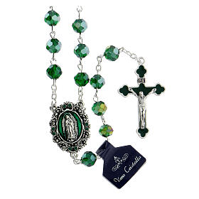 Rosario Madonna Guadalupe vero cristallo verde 8 mm