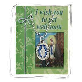 Catenina con medaglia miracolosa e card in inglese