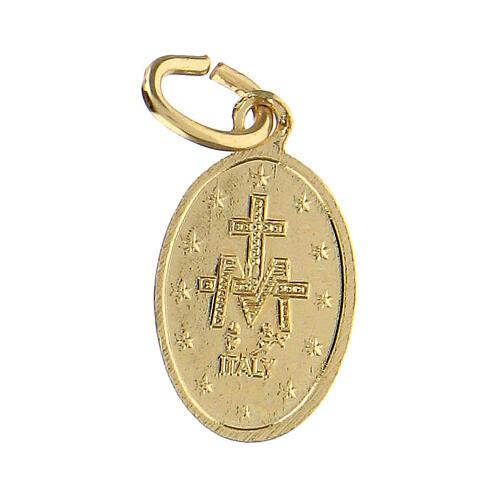 Medalla milagrosa aluminio anodizado oro 14x10 mm