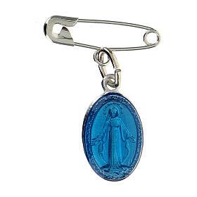 Medaglia miracolosa argentata smalto blu trasparente con spilla