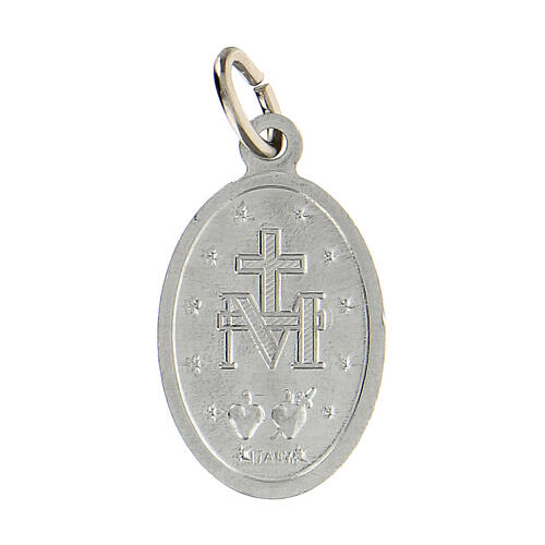 Medalla milagrosa plateada aluminio anodizado 18x13 mm