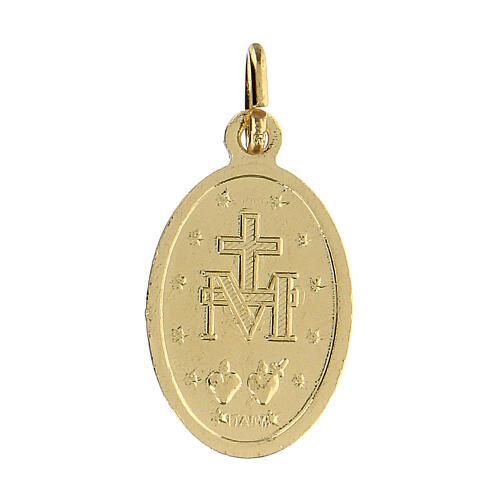 Medalla milagrosa de aluminio anodizado oro 18x13 mm