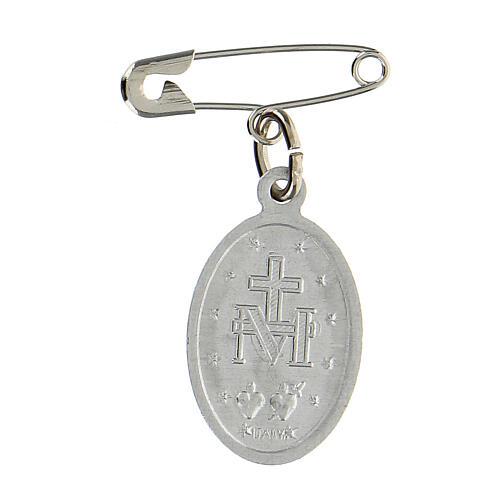 Medalla milagrosa esmalte azul transparente alfiler de gancho 18x13