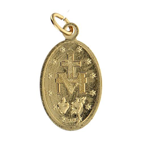 Medalla milagrosa aluminio anodizado dorada 22x15 mm