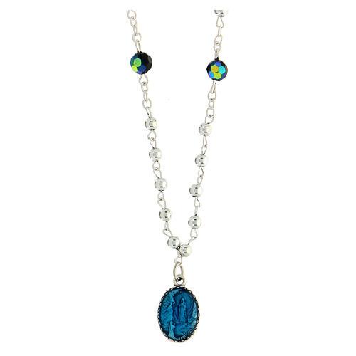 Collar cristal medalla Milagrosa Lourdes 1,5 cm