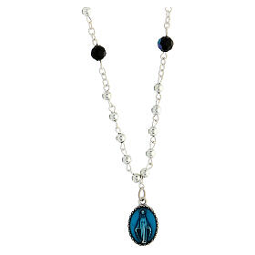 Colar cristal Medalha Milagrosa e Lourdes 1,5 cm