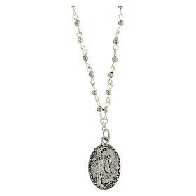 Collana grani metallo medaglia Lourdes Miracolosa 2 cm
