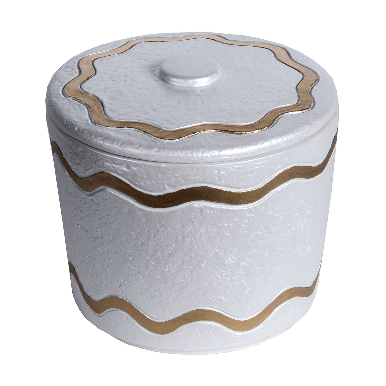Cremation urn, synthetic marble with golden iridescent finish 3