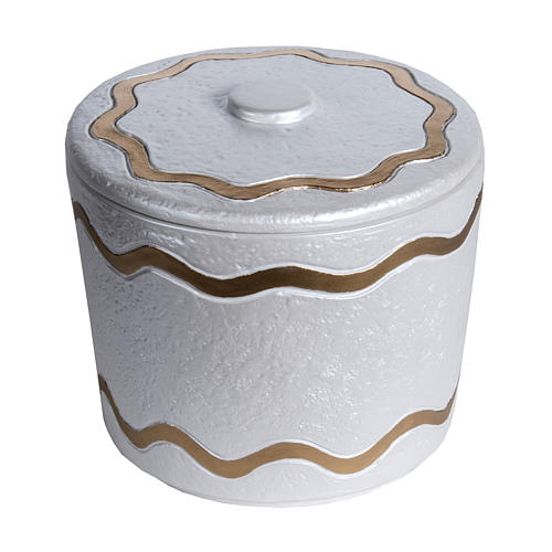 Cremation urn, synthetic marble with golden iridescent finish 1