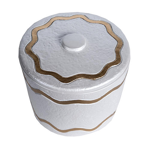 Cremation urn, synthetic marble with golden iridescent finish 2