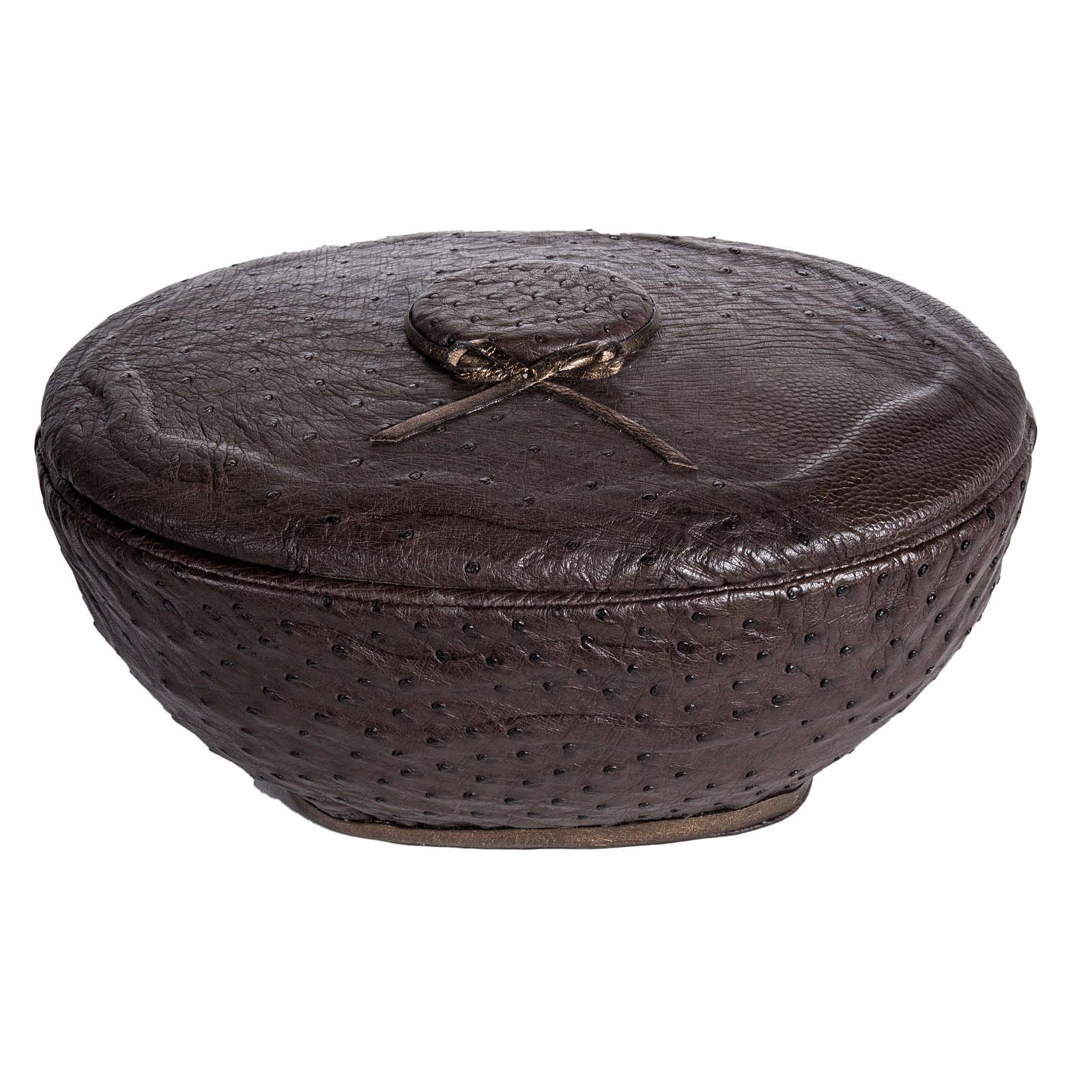 Urna funeraria tonda marmo ricoperto pelle struzzo 3