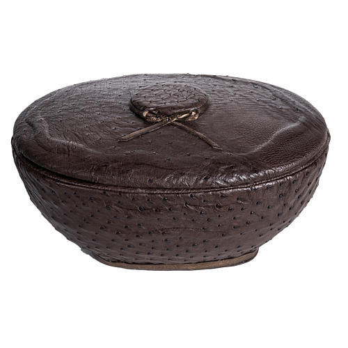Cremation urn, round, in synthetic marble and ostrich leather 1