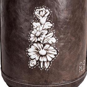 Urne funéraire marbre recouverte en cuir s3