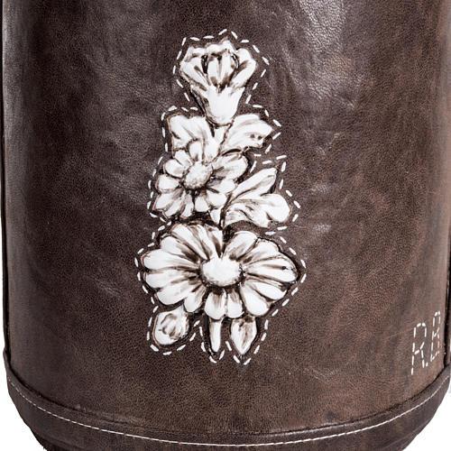 Urne funéraire marbre recouverte en cuir 3