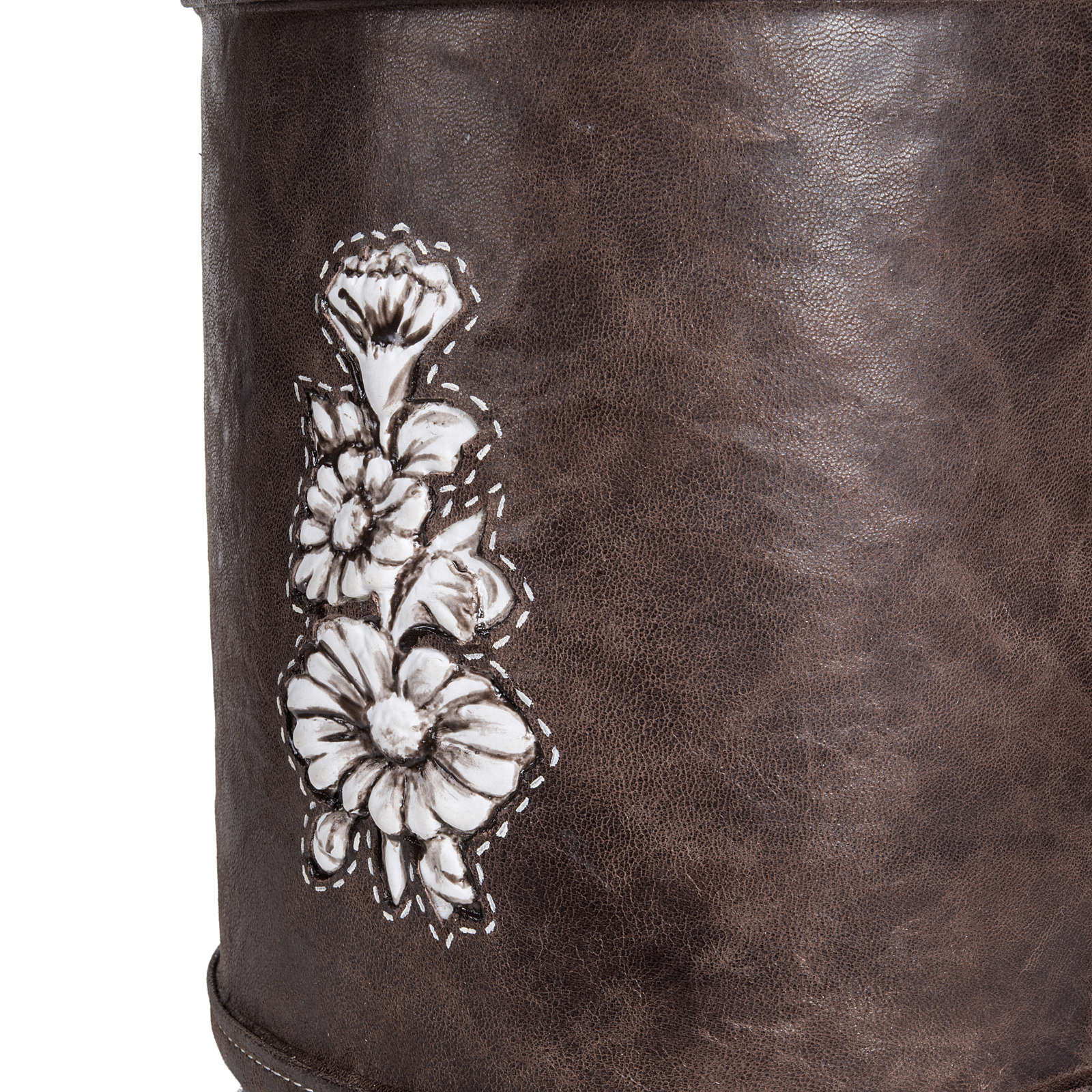 Cremation urn in synthetic marble and soft leather 3