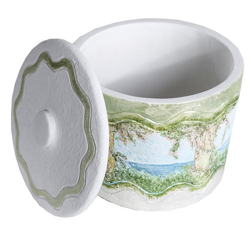 Urna cineraria marmo sintetico decori a mano 5