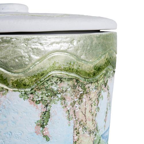 Urna cineraria marmo sintetico decori a mano 7