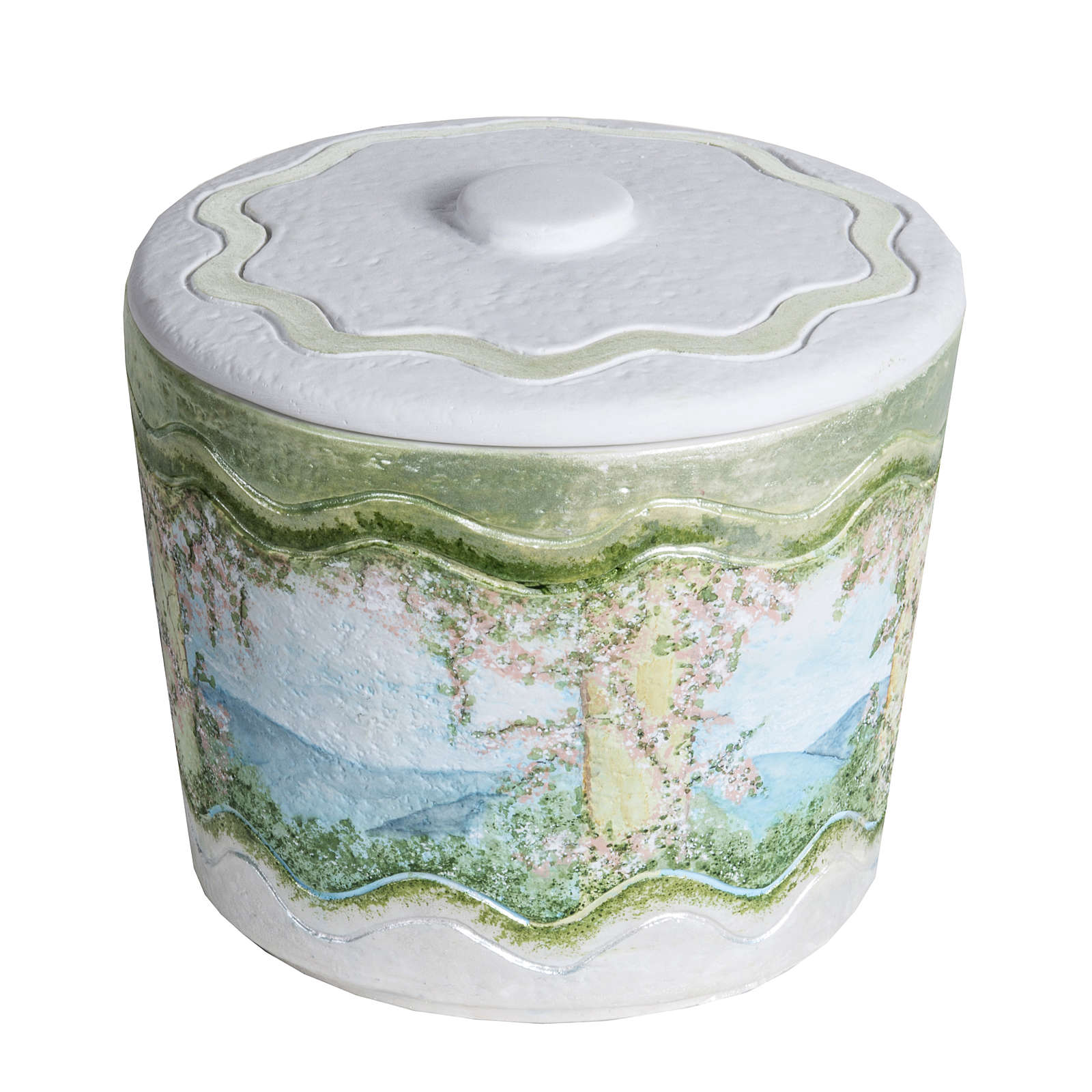 Cremation urn in synthetic marble, with handmade decorations 3