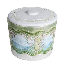 Cremation urn in synthetic marble, with handmade decorations s1