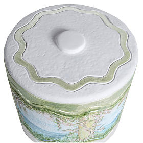 Cremation urn in synthetic marble, with handmade decorations s2