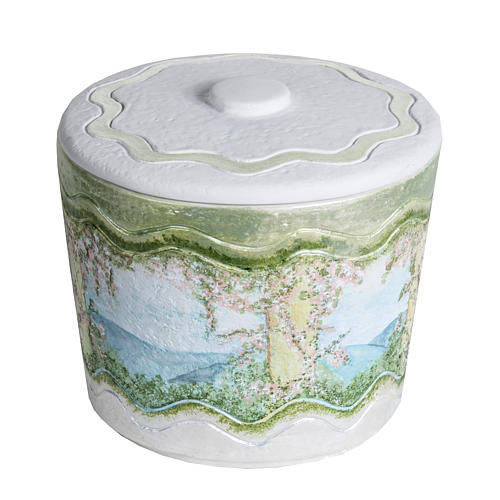 Cremation urn in synthetic marble, with handmade decorations 1