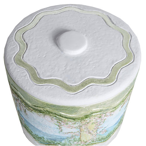 Cremation urn in synthetic marble, with handmade decorations 2