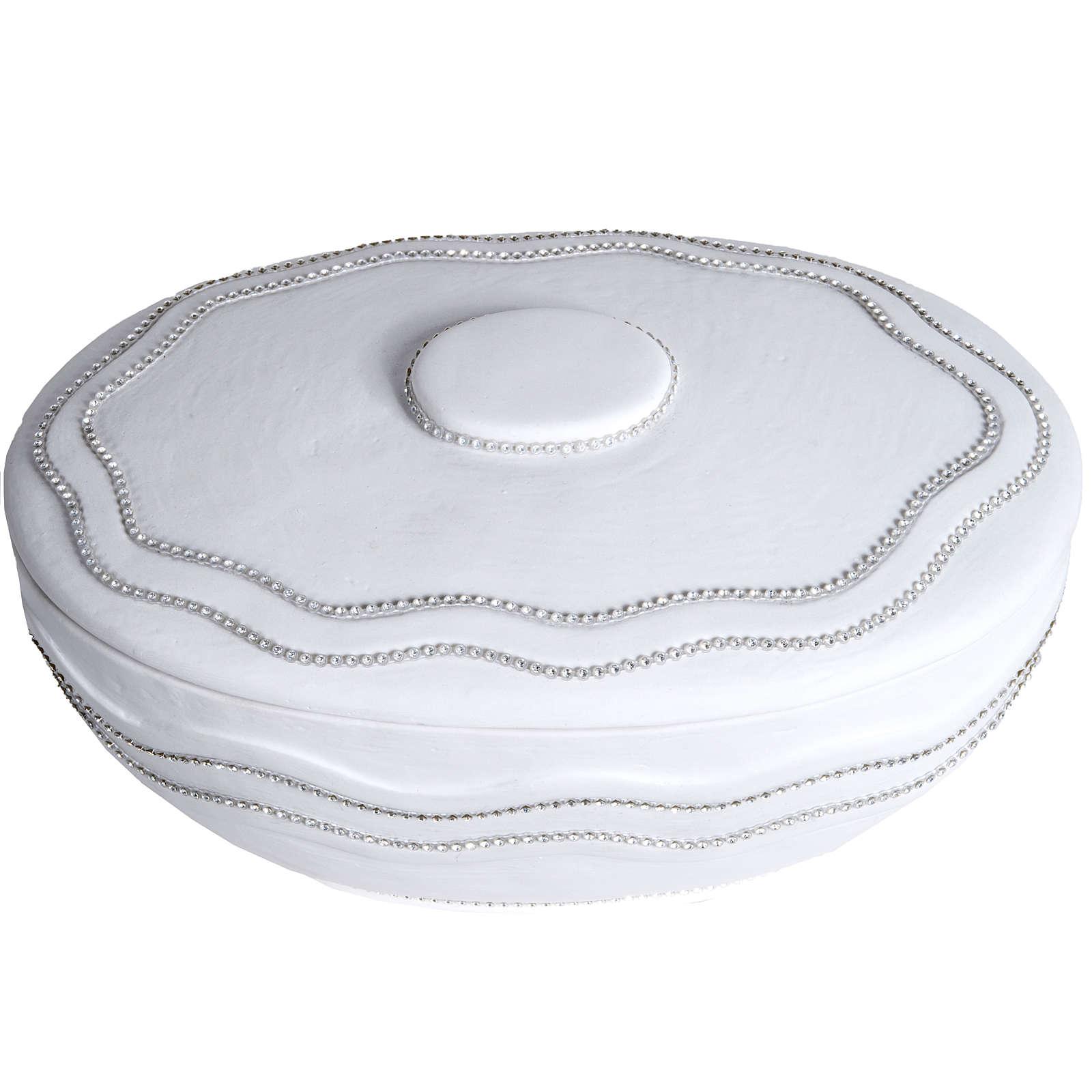 Urna cineraria tonda marmo sintetico bianca fili Swarovski 3