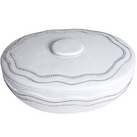 Urna cineraria tonda marmo sintetico bianca fili Swarovski s4