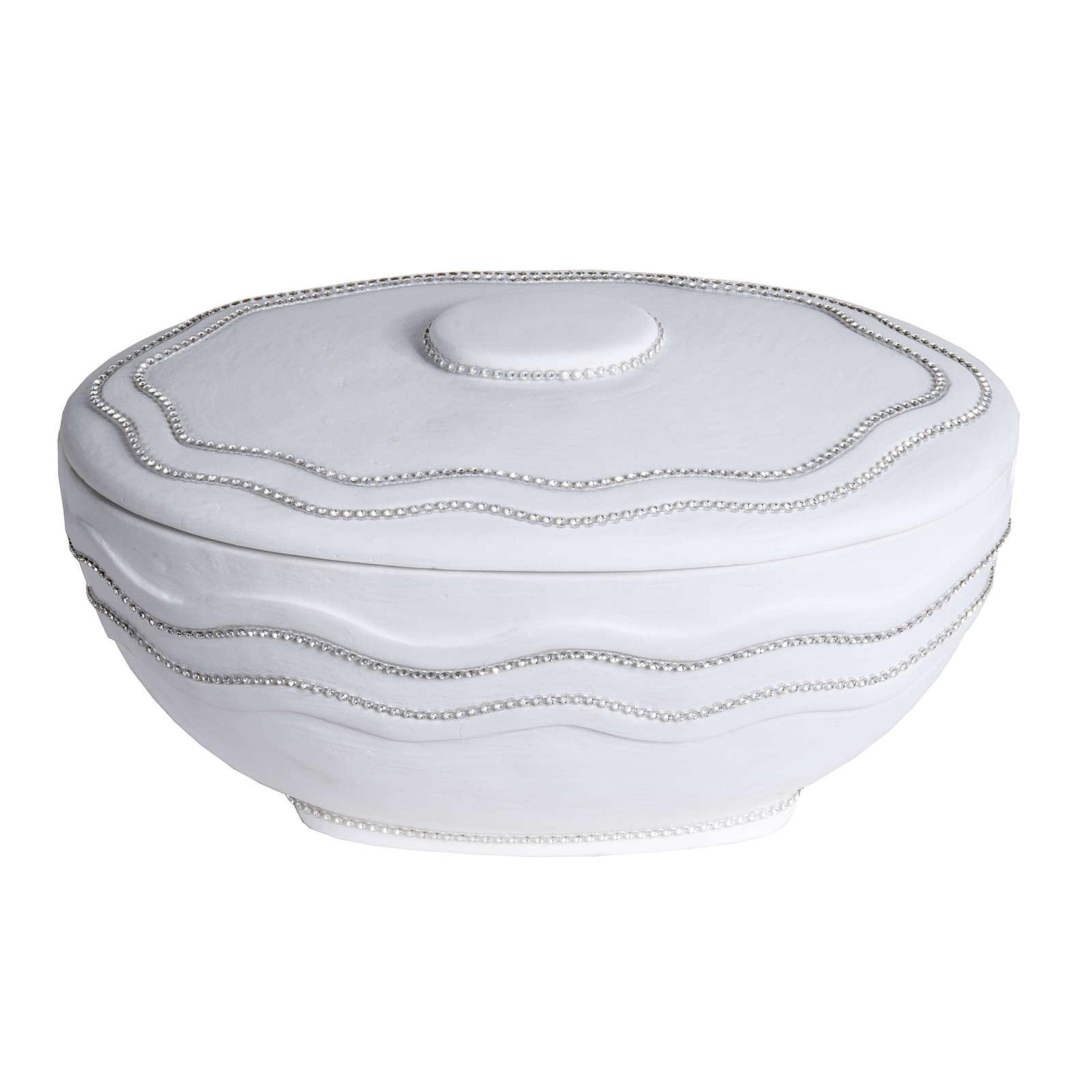 Cremation urn, round, in marble, white with Swarovski 3