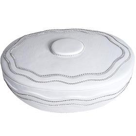 Cremation urn, round, in marble, white with Swarovski s4