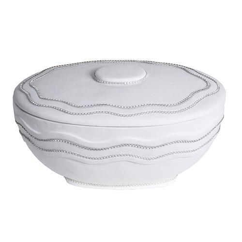 Cremation urn, round, in marble, white with Swarovski 1