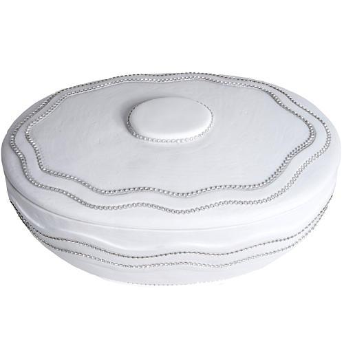 Cremation urn, round, in marble, white with Swarovski 4