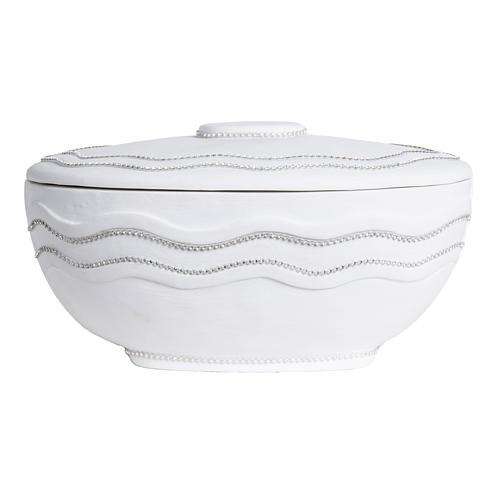 Cremation urn, round, in marble, white with Swarovski 5