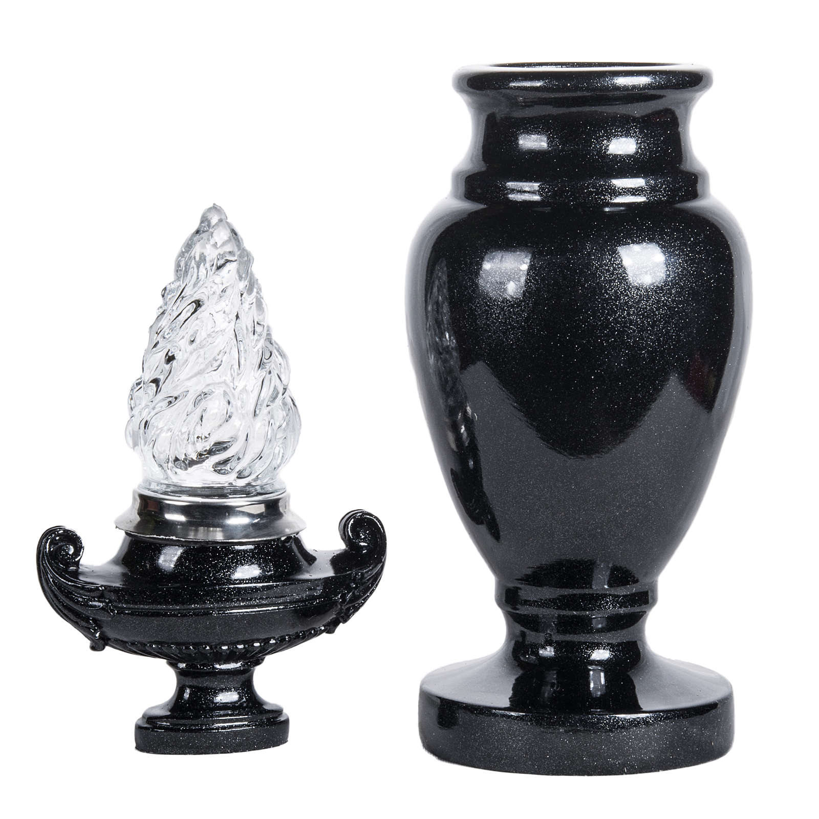 Vase for flowers with light in shiny black marble 3