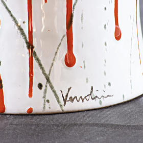 Urne funéraire céramique blanche et taches couleur s2