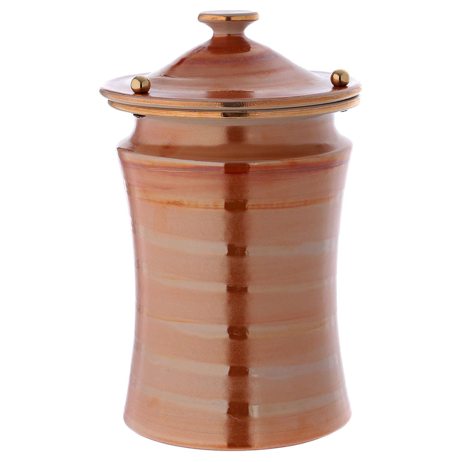Urna cineraria ceramica pomelli ottone color terra 3