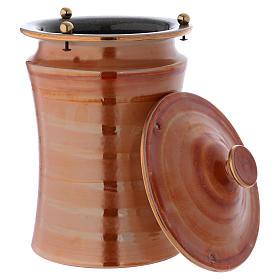 Urna cineraria ceramica pomelli ottone color terra s3