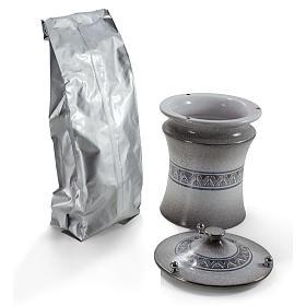Urna cineraria ceramica pomelli ottone perla con platino s2