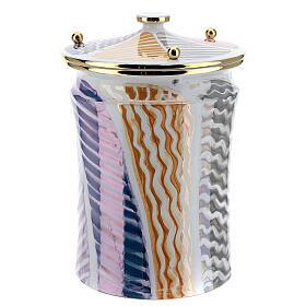 Urna cineraria ceramica pomelli ottone bianco fantasia s3