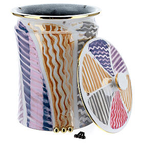 Urna cineraria ceramica pomelli ottone bianco fantasia s4