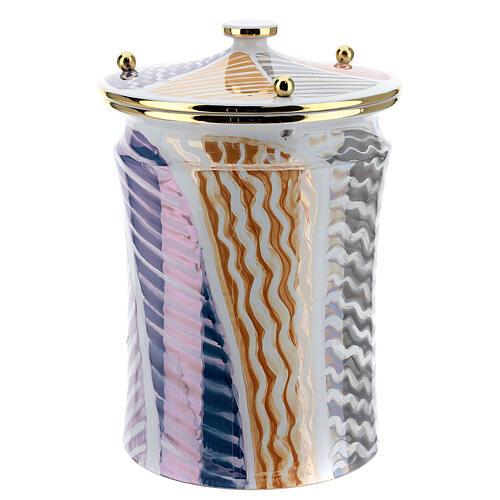 Urna cineraria ceramica pomelli ottone bianco fantasia 3