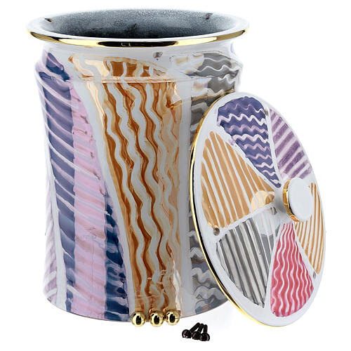 Urna cineraria ceramica pomelli ottone bianco fantasia 4