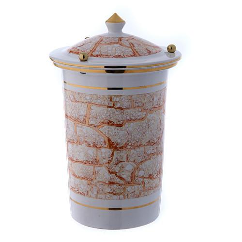 Urna cineraria ceramica con pomelli bianco oro 1