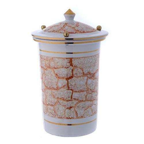 Urna cineraria ceramica con pomelli bianco oro 2
