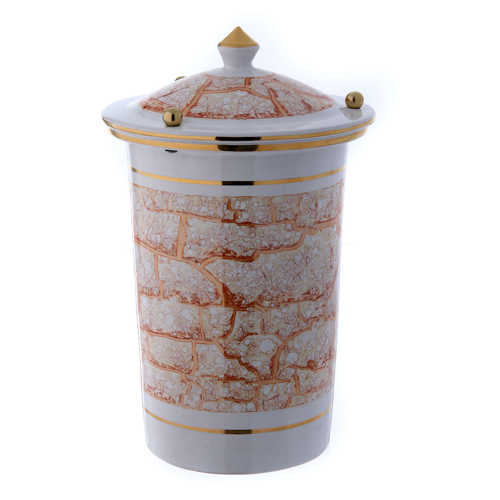 Cinerary urn in ceramic with pommels, white and gold 3