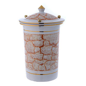 Cinerary urn in ceramic with pommels, white and gold s2
