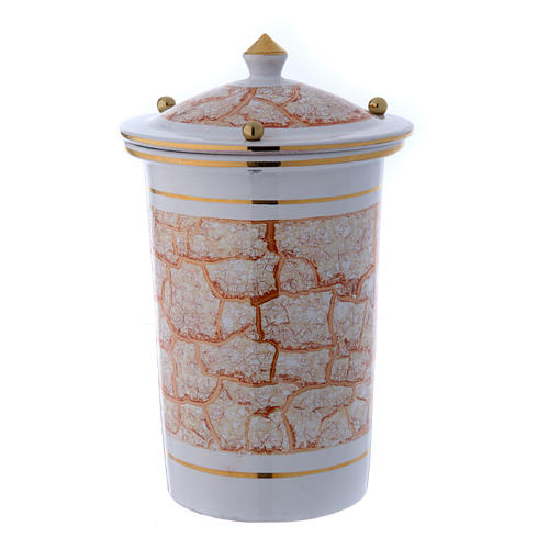 Cinerary urn in ceramic with pommels, white and gold 2