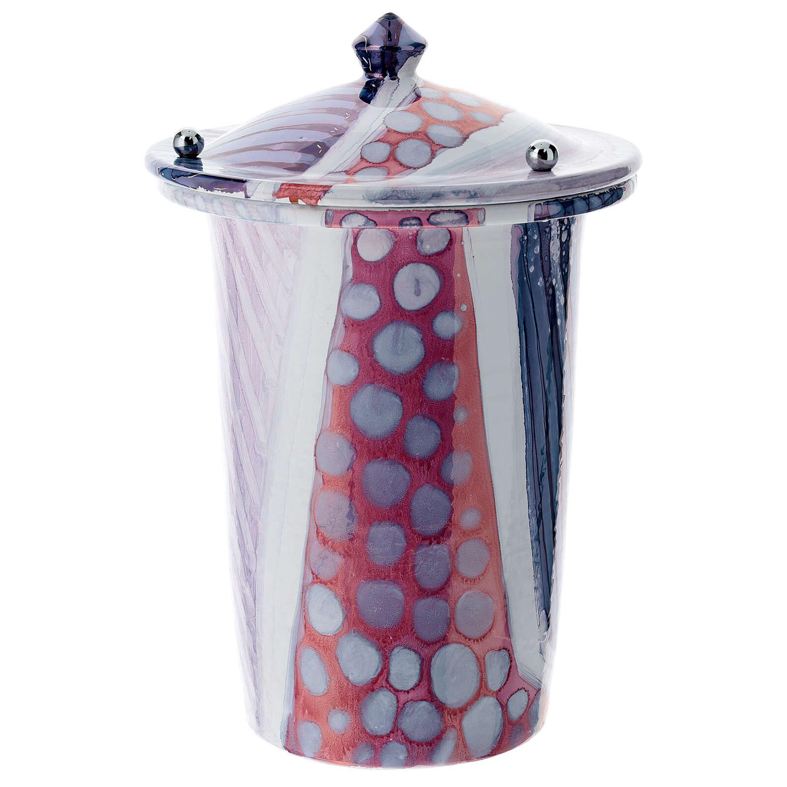 Urna cineraria ceramica con pomelli bianco fantasia 3